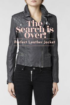 The leather is butter soft and worn-in, the length hits right at high hip, and you guys, IT'S GREY. For some reason, the thought of a black biker jacket was too severe for good ol' neutral-loving me, so the grey shade is a dream come true. #leather #jacket #perfect #wardrobe