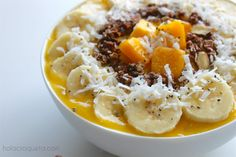 Detox from all the indulgences of the weekend with this Mango Smoothie Bowl. The most tropical breakfast you'll ever enjoy.