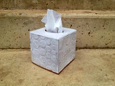 Tissue Box Covers may be a bit old fashioned, but I love them!  Ceramic Tissue Box Cover in Modern Polka Dot by persimmonstreet