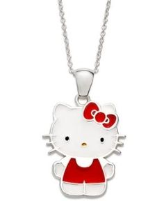 Hello Kitty Necklace, Sterling Silver Red Dress Pendant  #HelloKitty #Jewelry #Deals