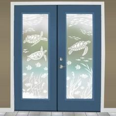 Decorate windows, glass doors, mirrors and more with underwater and sea life art by Wallpaper For Windows. Frosted Glass Window, Etched Glass Door, Stained Glass Window Film, Leaded Glass, Sliding Glass Door, Glass Etching, Window Privacy, Privacy Glass, Glass Shower Panels