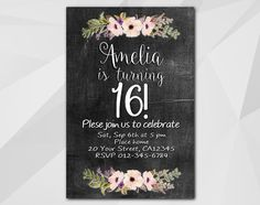 16th Watercolor #Chalkboard Birthday Invitation by Digi Invites https://www.etsy.com/shop/DigiInvites/    **Text can be changed for any occasion **This listing is for a cust... #chalkboard #xa022c ➡️ https://www.etsy.com/listing/481548175/16th-birthday-invitation-watercolor?utm_campaign=products&utm_content=1652c8372033440595610658c67e1e18&utm_medium=pinterest&utm_source=sellertools