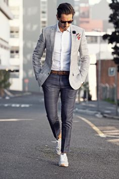 4f5a12f8d13 with a business casual idea with a white button up shirt brown leather  weaved belt charcoal plaid trousers white sneakers gray window pane blazer  black ...