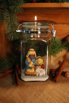 LOVE the Idea of spotlighting special items in a JAR~~Nativity Bale Jar Oil Candle for your by PineknobsAndCrickets, $28.00