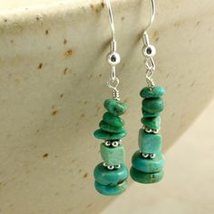 Turquoise Dangle Earrings with Silver. $27.00, via Etsy.