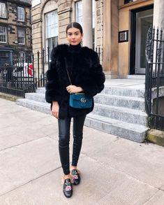 Fashion by mnp black fur coat with blue velvet gucci marmont bag