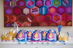 Party table with geometric background from Pretty Princess Cinderella Birthday… Birthday Games, 4th Birthday Parties, Birthday Diy, Cinderella Birthday, Party Photography, Princess Party, Themed Cakes, Holidays And Events, Geek Stuff
