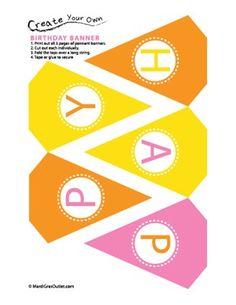 Free Printable Birthday Banners | ... Ideas by Mardi Gras Outlet: Birthday Pennant Banner: Free Printable