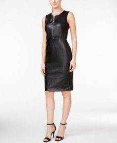 Calvin Klein Faux-Leather Zip-Front Dress