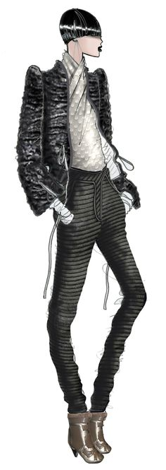 Karen, Paris. Jaa Design original fashion illustration.