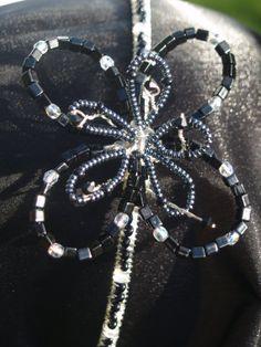 Handmade Beaded Flower Fascinator Black And by ArniesArtwork, £25.00
