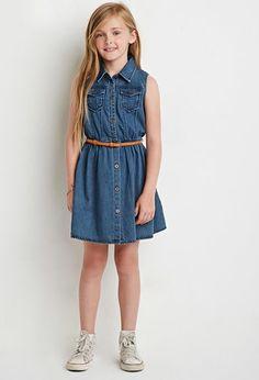 Girls Belted Denim Dress (Kids)   Forever 21 girls - 2000155119