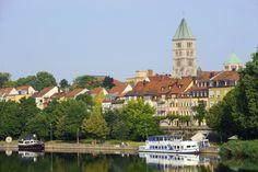 Main mit Blick auf die Gutermann-Promenade und die Stadt - http://www.schweinfurt360.de/  #Main #Schweinfurt #Promenade
