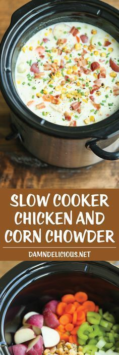 slow cooker recipes Slow Cooker Chicken and Corn Chowder - Such a hearty, comforting and CREAMY soup, made right in the crock pot. Let it do all the work for you! Slow Cooking, Slow Cooked Meals, Healthy Slow Cooker, Crock Pot Slow Cooker, Crock Pot Soup Recipes, Healthy Crock Pot Meals, Crock Pot Dinners, Slow Cooker Stew Recipes, Crock Pot Pizza