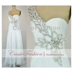 2014 Prom Dress,One Shoulder White Floor Length Chiffon Wedding... (180 CAD) ❤ liked on Polyvore featuring dresses, white dress, long evening dresses, long white dress, bridesmaid dresses and long sleeve dress
