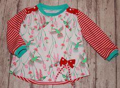 Pullover - Pullover/Shirt Gr. 80 Kolibri/Rot/Weiß - ein Designerstück von Zwergenzauber bei DaWanda