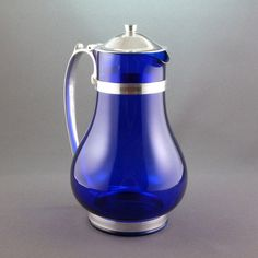 McKee Batter Jug / Pitcher in Cobalt Glass by PrairieDecArts, $96.00 Cobalt Glass, Cobalt Blue, Glass Vessel, Glass Art, Love Blue, Blue And White, Household Items, Shades Of Blue, Tea Cups