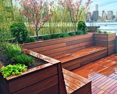 Deck Bench Seating, Backyard Seating, Backyard Patio Designs, Garden Seating, Backyard Landscaping, Deck Storage Bench, Terrace Design, Deck Design, Landscape Design