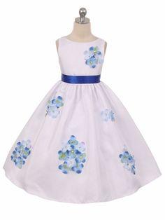 Blue Flower Petal Shantung Dress