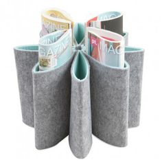 Present Time Flower Felted Magazine Holder, Grey with Pastel Green Felt Diy, Felt Crafts, Diy And Crafts, Sewing Projects, Projects To Try, Magazine Holders, Deco Design, Dot And Bo, Felt Flowers