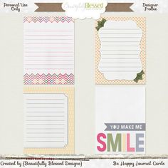 Free Be Happy Journal Cards from Beautifully Blessed Designs {on Facebook}