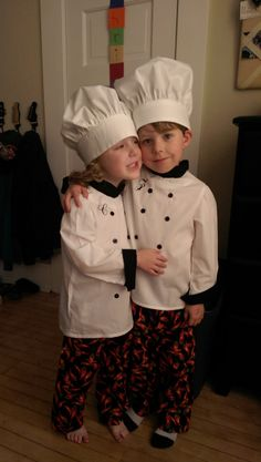 Mimi made these awesome Chef outfits for the boys! They are ready for the kitchen!