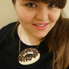 @aroselikethis wearing a brown donut doughnut  acrylic perspex laser cut necklace