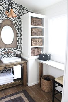 Home Interior Colour Master Bathroom Renovation- How to achieve a farmhouse style bathroom- farmhouse style- bathroom- remodeled bathroom- farmhouse bathroom- cement tile- copper accents- farmhouse style- bathroom update- bathroom reveal- bath Bathroom Renovations, Home Remodeling, Bathroom Ideas, Bathroom Shelves, Bathroom Storage, Bathroom Designs, Bathroom Makeovers, Remodel Bathroom, Bathroom Pics