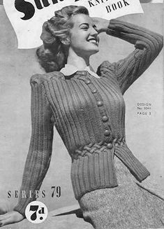 The   Vintage   Pattern   Files: 1940's Knitting - Carefree Jacket with Smocked Wai...