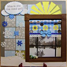 Another challenge layout. We were given an inspiration room and color pallet. I chose a photo I took through my window and decided to build a window frame around it complete with blind.   Heartedly Handcrafted  Scrapbook Layout - blog Challenge