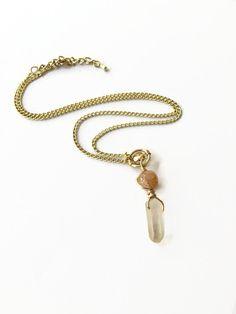Quartz Pendant Gold Necklace Clear Quartz Point Necklace Crystal Layering Gold Chain Necklace Quartz Gold Necklace Boho Style Necklace (N44) by JulemiJewelry on Etsy