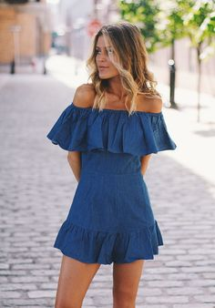 free people denim off the shoulder romper