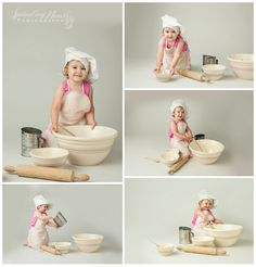 Mixing bowls and chef hat just made this session - AND the adorable 2 year old girl!  www.sproutingheartsphotography.com