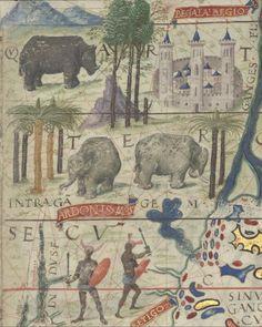 Atlas nautique du monde aka Atlas Miller or Lopo Homem-Reineis Atlas, detail of f. 3 (northern India). 1519