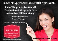 Free Chiropractic Care for Kansas City Area Teachers during the month of April! www.FulkChiropractic.com