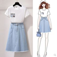 Small Fresh Suit Skirt Female New Style Age Reduction High Waist Denim Skirt Two-piece Dress is fashion, see more co ord outfits and short suits women online. Teen Fashion Outfits, Girl Fashion, Fashion Dresses, High Waisted Denim Skirt, Dress Sketches, Fashion Design Sketches, Korea Fashion, Two Piece Dress, Korean Outfits
