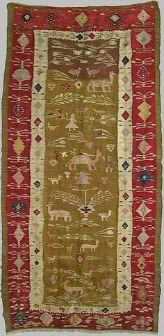 Europe - Romania/Oltenia, folk kilims is said to have been woven in Oltenia and is dated 1788 Fabric Rug, Textiles, Prayer Rug, Tribal Rug, Woven Rug, Floor Rugs, Handmade Rugs, Oriental Rug, Rugs On Carpet