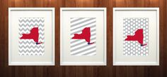 New York State Print Set of Three Giclée Print  by PaintedPost, $37.00 #paintedpoststudio - New York Giants - NYC - NFL- What a great and memorable gift for graduation, sorority, hostess, and best friend gifts! Also perfect for dorm decor! :)