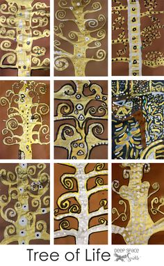 Klimt 'Tree of Life' art lesson (could be turned into a family tree)