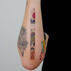 Using the watercolor tattoo technique, EQ encloses the story of a person in a thin and long rectangle, which the artist himself calls Frame. And it's really suitable for his tattoos.