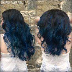 Vibrant midnight blue balayage ombré. The perfect fashion color melt. Stylist: Megan Sevil.