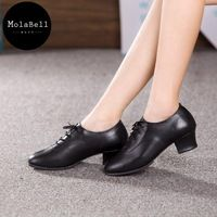 Black Teacher  Surrounded By Foot  FullGrain Leather  Adult Mid Heel Latin Modern Dance Shoes Women's Ballroom Dancing