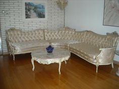 This is a 3 piece sofa sectional in beautiful french provincial style in pristine condition.  Call 630-276-3200.  This is at my home in Chicago.