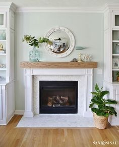 DIY Wood Beam Mantel - Coastal Fireplace Makeover with Marble Herringbone Tile