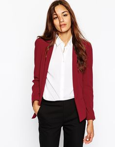 Image 1 ofASOS Jacket In Crepe with Skinny Lapel