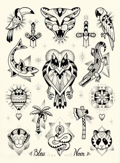 bleu-noir-tattoo-art-shop-violette-paris tatouages-flash-animaux