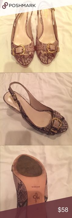 Snake print high heels Snake print call Haynes one more than once in great condition an inch high seven or 7 1/2 snake print gorgeous Cole Haan Shoes Heels