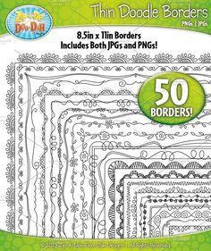 Thin Doodle Frame Borders Set 1 #doodle #borders