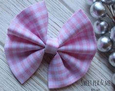 "Baby Girl | Newborn | Toddler | Girls Pink Checkered Gingham ""Baby Dorothy"" Bow Nylon Headband 