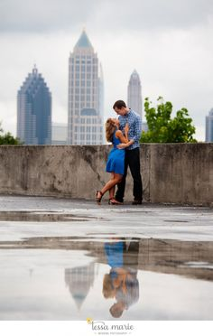 beautiful reflections on a cloudy morning + a smitten couple #beautiful reflections #engagement pictures #atlanta engagement pictures